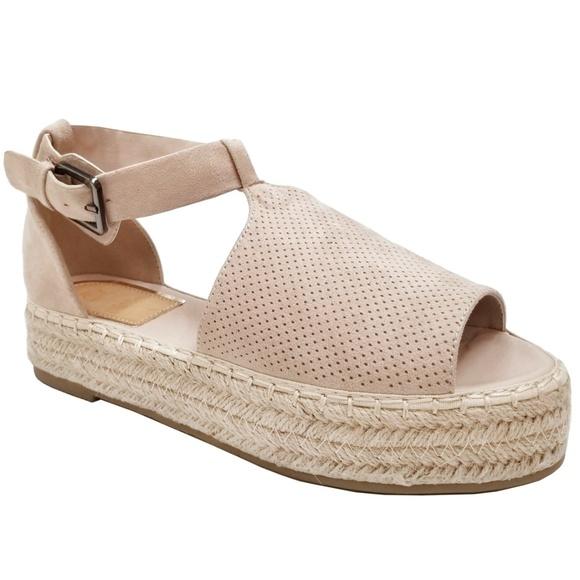 9aa90e267f9 Beige Peep Toe Flatform Espadrille Sandals NIB